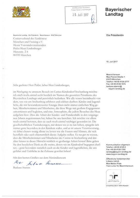 Juli 2017 Ein Brief Von Landtagspräsidentin Barbara Stamm